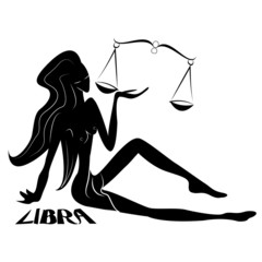 Lybra/Elegant zodiac signs silhouettes isolated on white