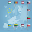 10 european union countries over european map