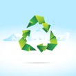 Sign of Recycling in form of origami paper with sky background