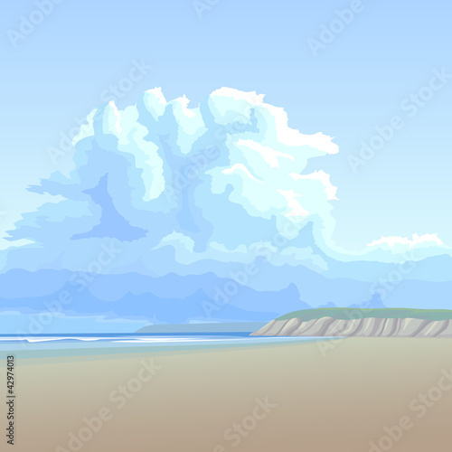 Naklejka Tło z dużej chmury w długim piaszczystym brzegu.