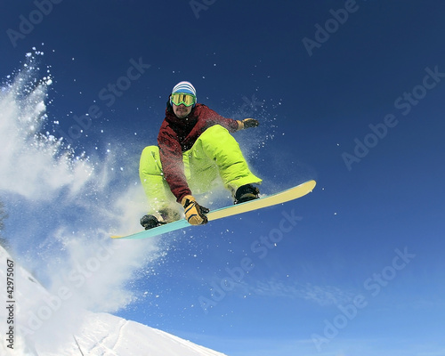 canvas print picture Snowboarder in the sky