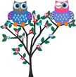 two colorful flirty owls