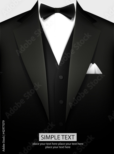 Tuxedo vector background with bow