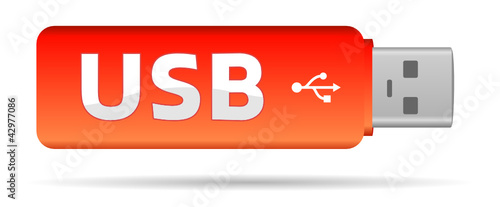 red usb key flash with text