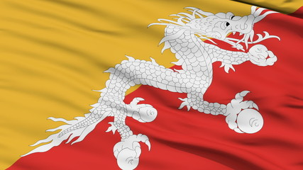 Waving national flag of Bhutan