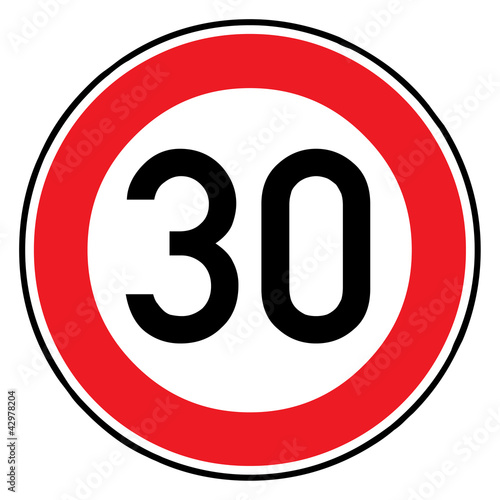Verkehrsschild - 274 Höchstgeschwindigkeit (30)