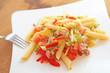 Nudelsalat mit Gemüse und Kochschinken