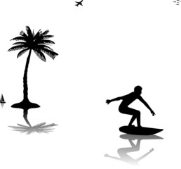 Beautiful young man surfing near the palms silhouette