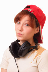 Attractive young girl with headphones