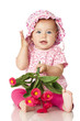 canvas print picture - Pretty baby in pink - Süßes Baby in rosa