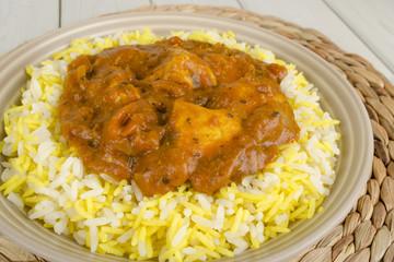 Chicken Bhuna & Bicolour Pilau Rice