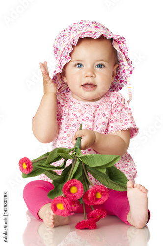 canvas print picture Pretty baby in pink - Süßes Baby in rosa