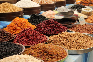 Dried fruits and nuts in the bazaar