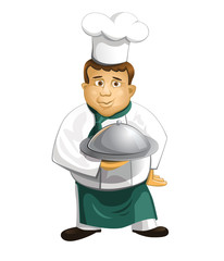 Chef in uniform with metal cloche