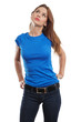 Sexy female with blank blue shirt