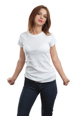 Sexy female with blank white shirt