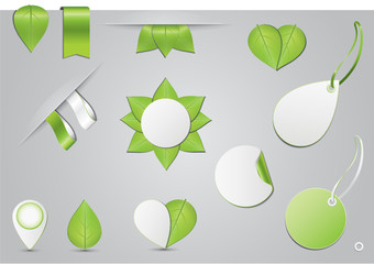 Etiketten Set - Grüne Blätter