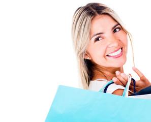 Thoughtful shopping woman