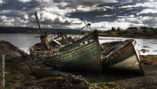 Shipwrecks by a Scottish loch