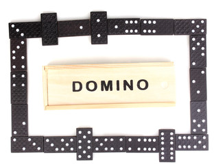 Playing domino isolated on white