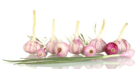young onions and garlic isolated on white background close-up