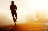 Athlete running road silhouette - 42983630