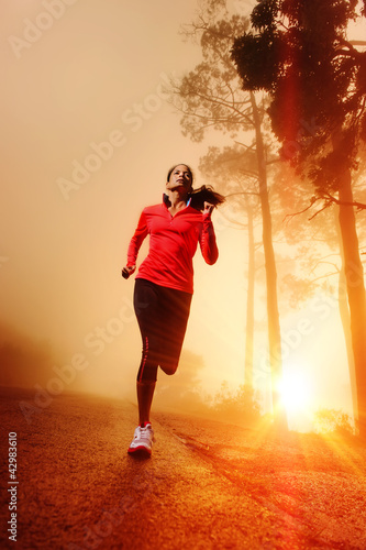 Sunrise running woman