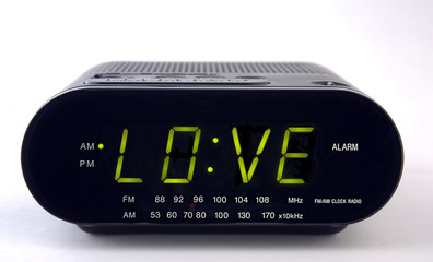 Clock Radio with the word LOVE