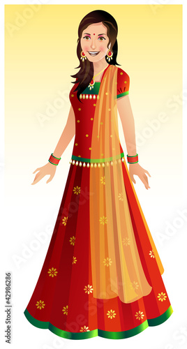 Indian woman in traditional Indian outfit - Ghagra Choli