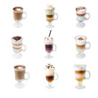 collection  glass cap with coffee   isolated