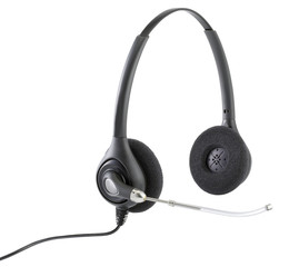 telephonists hands free headphones isolated on white with clippi