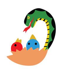 Illustration - Snake.Snake is eating chicks.