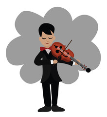 Illustration - Musician playing violin.