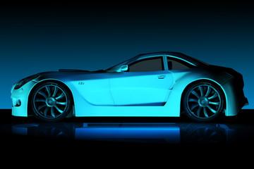 Sportwagenpraesentation 1 im blauen Licht