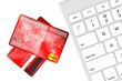 Credit card with computer keyboard