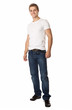 Full length of a cute young man in jeans and t-shirt