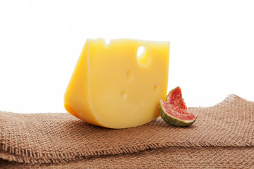 Swiss cheese still life.