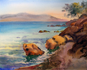 Watercolor painting of the Croatia