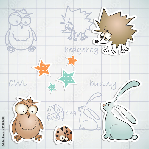 Set of three funny animals: hedgehog, owl and rabbit