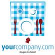 Essen gedeckter Tisch Tischdecke Tasse Glas von oben