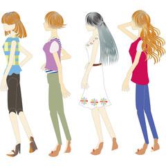 fashion of summer ワンピース・ハーフスリーブの女性達