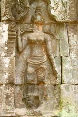 Apsara sandstone carving, Ta Prohm Prasat, Siemreap
