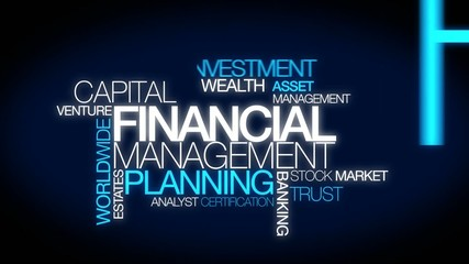 Financial management investment word tag cloud video