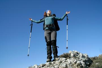 Hiking in mountain.