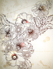 Vintage background with hand drawn flowers branch