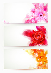 set of three banners, abstract headers with flowers