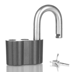 old padlock with keys isolated on white background