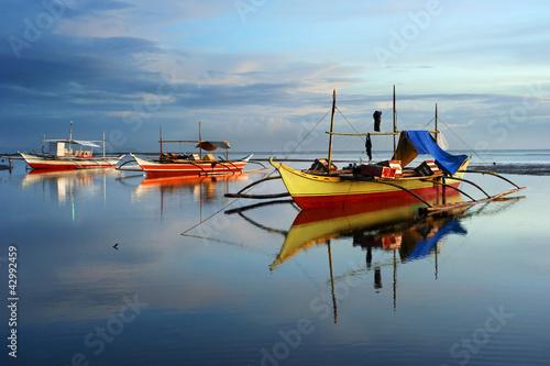Leinwanddruck Bild Traditional Philippines boats