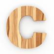 3d Font Wood Ash Letter C