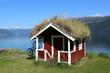 Leinwanddruck Bild - Grass roofed Hut in Norway